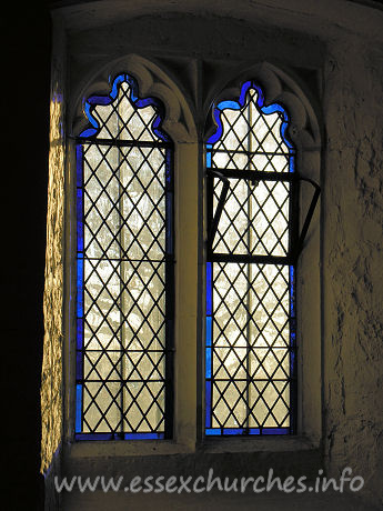 All Saints, Vange Church - The replacement S window. Much of the original lead work is 