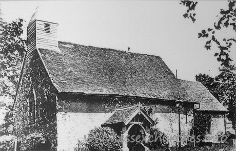 All Saints, Vange Church - A copy of a picture displayed inside the church, depicting the 