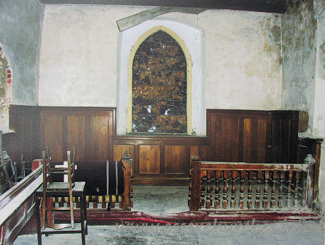 All Saints, Vange Church - The chancel, before work commenced. Note the shattered E 