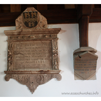 St Andrew, Greensted Church - Here lieth Jone, sister of Thomas Smith of Mont Knight. Second wife of Alane Wood of Snodland in Kent. Gent who livinge vertuouslie 60 yeeres died godly the XX of August 1585.