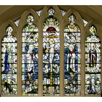 St Margaret, Barking Church - The North chapel East window depicts St Erkenwald, bishop of 