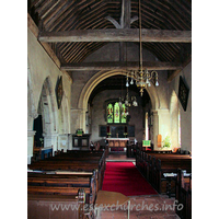 St Nicholas, Canewdon Church - The nave and chancel from the west end.