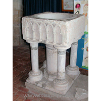 St Nicholas, Canewdon Church - This font originally resided in St Mary's, Shopland. It was moved here after St Mary's was demolished, following extensive damage during the Second World War.
