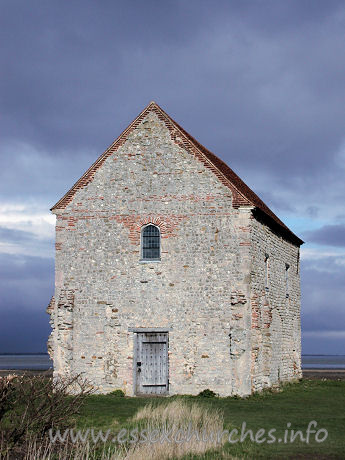 St Peter-on-the-Wall, Bradwell-juxta-Mare  Church - The W wall, showing the reused Roman bricks around the window.