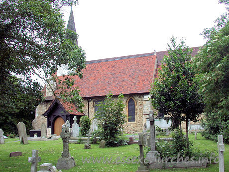 Holy Trinity, Southchurch Church - The original Norman church, seen here, was firstly restored by W. Slater between 1855 and 1857, before subsequent enlargement of the church as a whole.