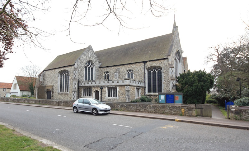 Holy Trinity, Southchurch Church - This image of the church pretty much shows the extent of Comper's extension of 1906, which left the newer part of the church at the same length as the old Norman church.