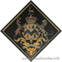 St John the Baptist, Thaxted Church - For Henry, 3rd Viscount Maynard, Lord Lieutenant and Vice-Admiral of Essex who married, in 1810, Mary, daughter of Reginald Rabett, of Bramfield Hall, and died 19 May 1865.