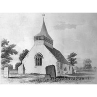 All Saints, Hutton Church - This image, which hangs in the church, shows the church as it was in 1845. Note the S door, the lack of S chapel, and the much shortened length of the church.