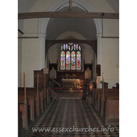 St Botolph, Beauchamp Roding Church - View from the nave into the chancel, showing the fairly high chancel arch.