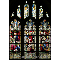 St Andrew, Hornchurch Church - This first north aisle stained glass is late 19th century. It has three lights depicting Jesus in the garden of Gethsemane, Jesus with Pilate and Jesus on the road to Calvary.