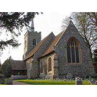 St Edmund, Abbess Roding Church - From this SE view can be seen the C15 chancel in front of the C14 nave.The E window is the result of the 1867 restoration.