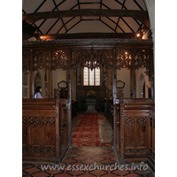St Edmund, Abbess Roding Church - This view of the nave, looking W from the chancel shows the nave roof tie beams, which are supported on arched braces.