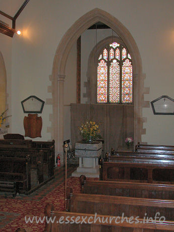 St Edmund, Abbess Roding Church - Looking across the nave, to the SW.