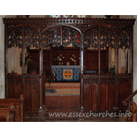 St Edmund, Abbess Roding Church - The screen has two-light divisions. The mullion is carried up into the apex of the four-centred arch. Each light consists of panel-tracery with an ogee arch below.