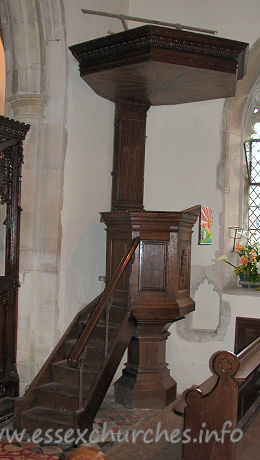 St Edmund, Abbess Roding Church - Pulpit with a huge tester.