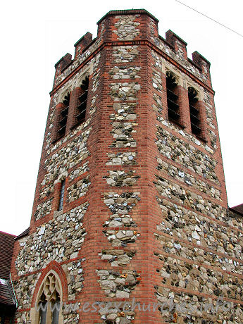 St Alban, Westcliff-on-Sea Church -    The South-East tower, showing the fabric of the church to be  flint and rubble with red-brick dressings.