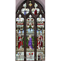 St Alban, Westcliff-on-Sea Church -    This window, which is situated on the south side of the Lady  Chapel depicts the presentation of the baby Jesus at the temple.  The figures [l to r] are: Simeon, The Virgin and Child, Joseph  and Anna.  This window was given in memory of Rev'd Charles Henry Rogers,  Vicar 1906-1929, by his friends and congregation.  Rev'd Rogers is depicted kneeling in prayer at the bottom  right hand corner of the window.