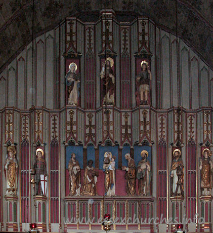 St Alban, Westcliff-on-Sea Church -    The East Wall, behind the High Altar, is the Westcliff World  War One War Memorial.  The figures, from top to bottom, left to right, are:  The Virgin Mary, Jesus, St. Alban  St. David, St. George, The Magi, Virgin and Child, St. Andrew,  St. Patrick.