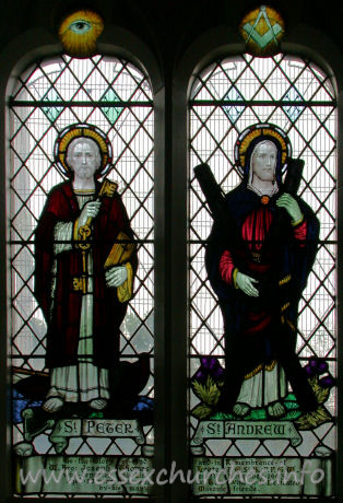 St Catherine, Wickford Church - This window in the south wall depicts St Peter and St Andrew, and is dedicated to Joseph Leete. He was a Churchwarden and a benefactor to the church. He provided, amongst other things, acetylene for the church's lighting plant (before the arrival of electricity).
