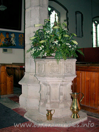 All Saints, Barling Church - This stone octagonal font dates from the 15th century.