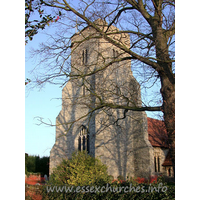 St Peter, Paglesham Church -    15th Century embattled West tower with diagonal buttresses.