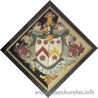 St John, Finchingfield Church - For Thomas Ruggles, of Spains Hall, who married 2nd, 1799, Jane Anne, daughter of John Freeland, of Cobham, Surrey, and died 17 November 1813, aged 68. Details taken from Hatchments in Britain: 6, Edited by Peter Summers