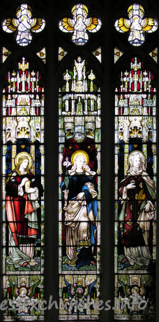 St Mary the Virgin, Great Bardfield Church - N aisle, W window, representing the Three Marys.