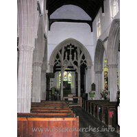 St Mary the Virgin, Great Bardfield Church - Looking E inside the church, the chief treasure can clearly be seen.
