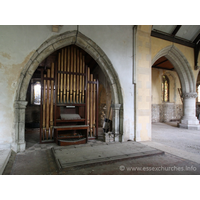 St John the Baptist, Mucking Church - The organ in the arcade seperating the chancel and S chapel.