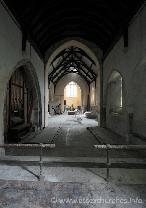 St John the Baptist, Mucking Church - Looking west from the chancel.