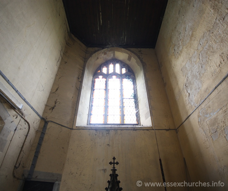 St John the Baptist, Mucking Church - Looking up into the tower.