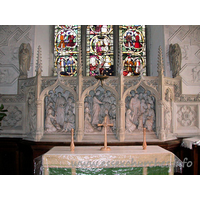 St Margaret of Antioch, Margaretting Church - The fine reredos, beneath the Jesse window.
