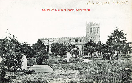 St Peter ad Vincula, Coggeshall Church - Postcard of St Peter's from the 1900s.