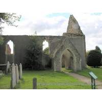 St Peter (Ruins), Alresford Church - The north side of the church, showing the north porch.