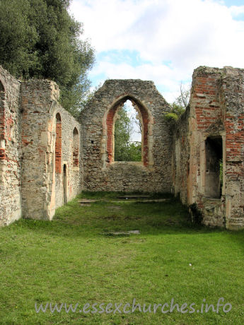 St Peter (Ruins), Alresford Church - The interior of the church, looking east towards the chancel.