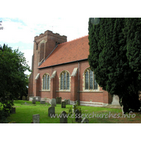 St Andrew, Weeley Church - The west tower of brick is early C16. It has diagonal buttresses and battlements.