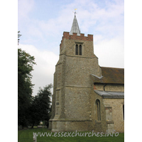 St Mary the Virgin, Henham Church - The tower dates from C14. It has diagonal buttresses, which extend into the nave, underpinned by a squinch. The brick battlements are later, as is the lead 'spike' spire.