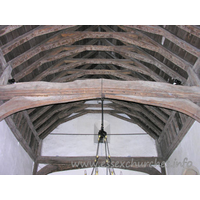St Mary the Virgin, Strethall Church - Present nave roof is most likely early C15, and is trussed with cambered tie-beams and arch-braces.