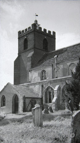 St Andrew, Helion Bumpstead Church - Taken from a picture in the church. Note the old porch, and the existence of the stone tracery in the windows. Compare this with Exterior Image 1.