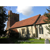All Saints, Nazeing Church - A similar shot, though this time showing a little of the external chancel wall. The Norman nave window is clearly visible, just to the right of the porch.