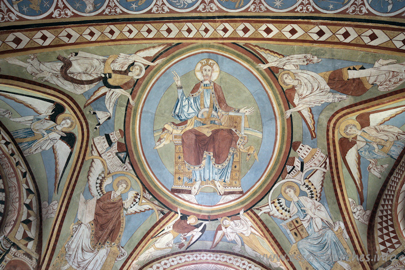 St Michael & All Angels, Copford Church - The painting on the ceiling of the apse depicts Christ in circular glory, surrounded by angels, with apostles below.