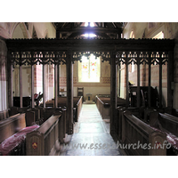 St Michael & All Angels, Copford Church - Looking W from the chancel, with the screen clearly shown.