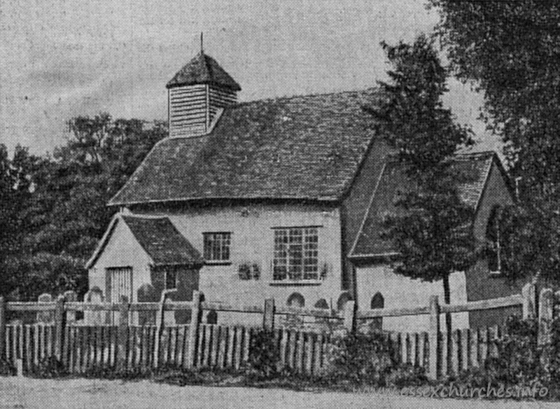 St Nicholas, Hazeleigh Church - From a newspaper clipping dated 26th August 1922 - sourced from Essex Records Office. The picturesque lath and plaster church near Maldon, Essex, which is to be demolished. It was closed for general use many years ago, and has not been opened since 1906.
