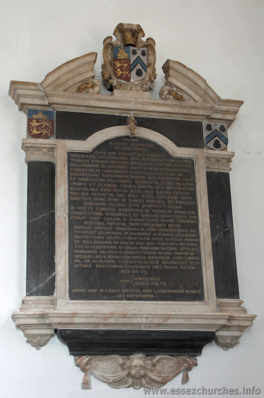 St Mary & All Saints, Lambourne Church - Dr Thomas Winniff - died September 19th 1654, aged 78. Inscription entirely in Latin.