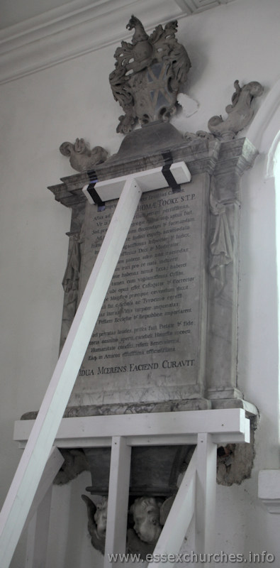 St Mary & All Saints, Lambourne Church - Dr Thomas Tooke - died May 24th 1721. Inscription entirely in Latin.