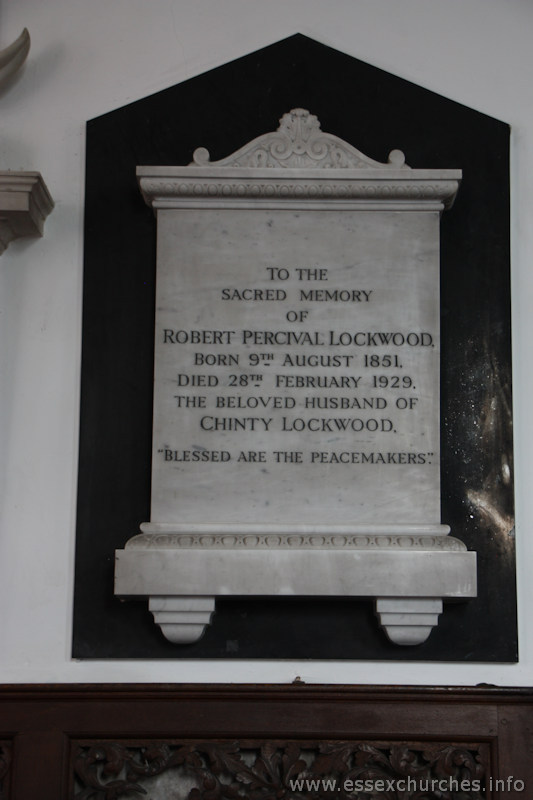 "St Mary & All Saints, Lambourne Church - To the sacred memory of Robert Percival Lockwood, born 9th August 1851, died 28th February 1929, the beloved husband of Chinty Lockwood. ""Blessed are the peacemakers""."